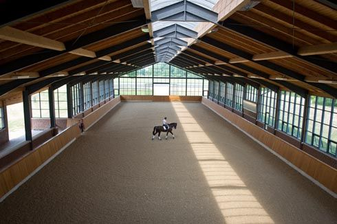 Dressage riders Fiona Bigwood and Anders Dahl indoor school and bespoke yard