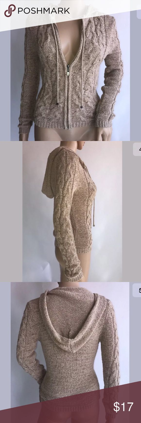 """BCBGMAXAZRIA Khaki Nude Knit Zip Up Hoodie S BCBGMAXAZRIA Khaki Nude Knit Zip Up Hoodie in size S. ⛔Small snag on left shoulder⛔small pink stain on front⛔See photos⛔ I ship same or next business day depending on time payment is made.  Measurements laying flat are:  Armpit to Armpit: 16""""  Sleeve: 26""""  Length: 21""""  Material: 67% Acrylic 39% Nylon BCBGMaxAzria Sweaters"""