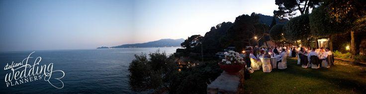 Your Italian wedding reception, garden sea view, overlooking the promontory of Portofino