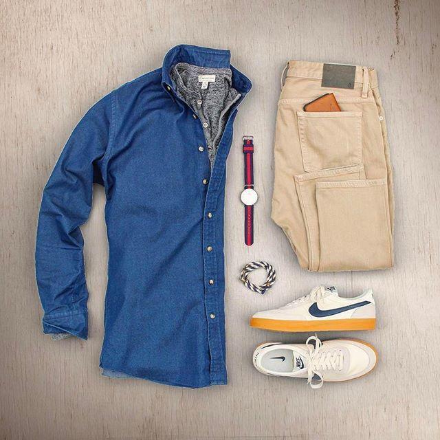 Love these Nike Killshot 2 sneakers  - - Denim Shirt: @propercloth  Henley: @jcrewmens  Watch: @danielwellington  Khaki Denim: @bonobos  Wallet: @hardgraft  Bracelet: @kjp  Sneakers: @nike Killshot 2 - - - Style by : @matthewgraber  #