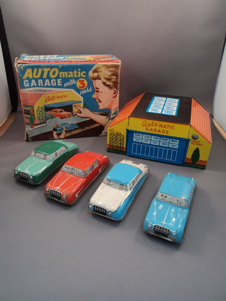 Vintage Tinplate 'Auto' Matic Garage with 4 Cars | eBay