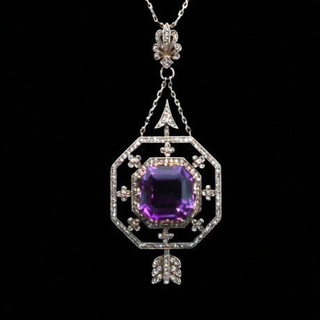 An octagonal amethyst and diamond arrow pendant and chain, of Russian origin circa 1898 -1908.