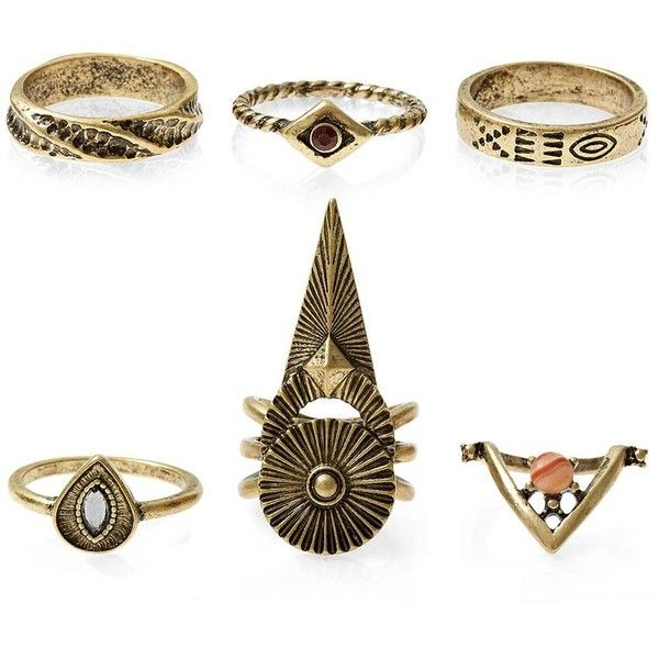 Gold Aztec Ring Pack ($12) ❤ liked on Polyvore featuring jewelry, rings, gold rings, gold jewellery, aztec ring, set rings and aztec jewelry
