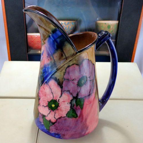 Vintage-HK-Tunstall-keramika-sasanky-Pattern-Art-Deco-Jug-Grocott-c1935-Luster