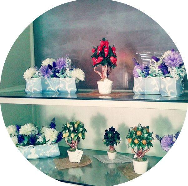 Capodimonte porcelain's saplings Garden whit table bone china art nouveau planters Richard Ginori original - Giardino di alberelli in porcellana di capodimonte, affiancate a fioriere da tavolo Richard Ginori autentiche Liberty