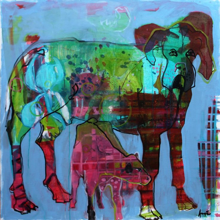 "Angie Arbuthnot, ""Im bigger than a cow!"" 100x100cm 2016"