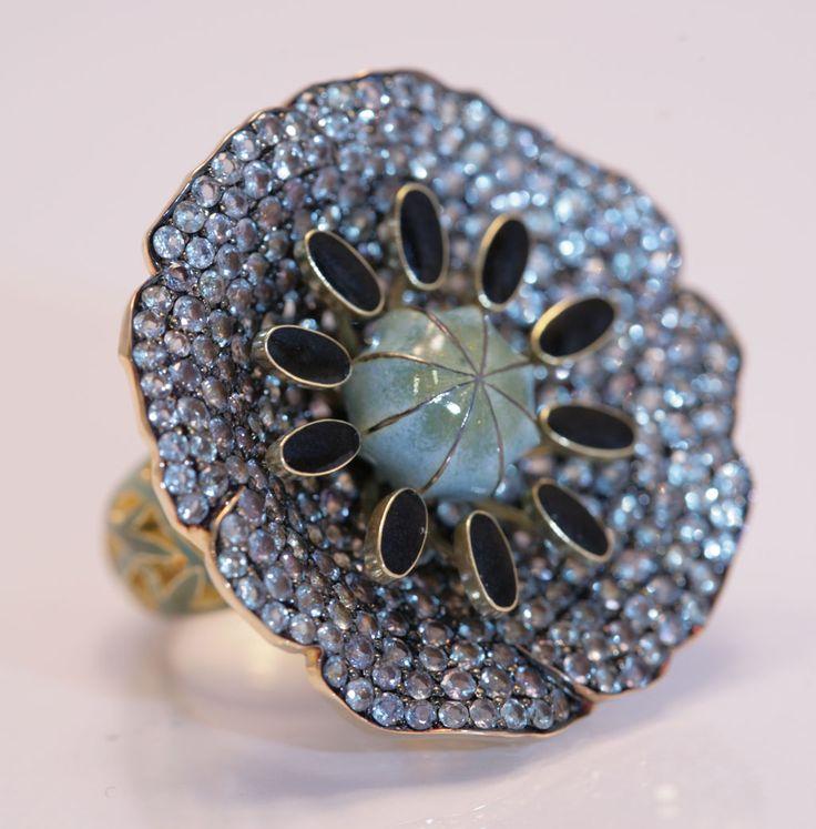 Ring 'Poppy' by Ilgiz F Poppy with enamel and alexandrite