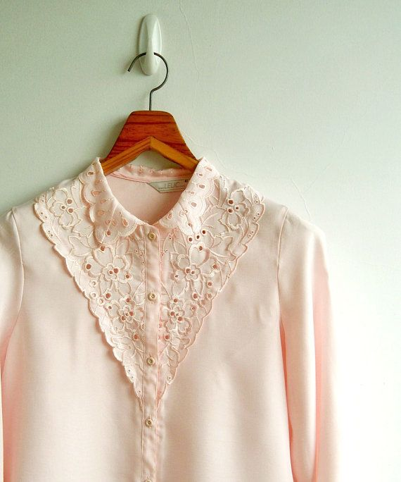 Vintage Pastel Pink Flower Cut Out and Embroidery by sweetdecade, $25.00