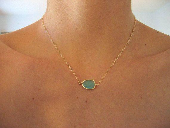 aqua & gold necklace