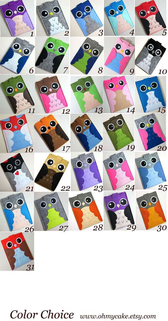 Handmade Felt Kindle Case - Kindle 3 Cover - Kindle Fire Case - Kindle Touch Cover - Nook Case - Kindle Felt Sleeve -  Cute Owl  Design. $32,00, via Etsy.
