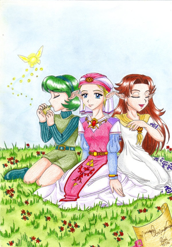 Saria, Zelda, Malon. OMG, I could SO see them being besties!  If they all got together, I'm sure they'd have great times.  Seriously, they're all so awesome and sweet, I bet they'd bond right away!