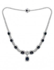 """Say """"I love you forever and ever"""" with a sapphire and diamond necklace... #finecraft #holidays #diamonds"""