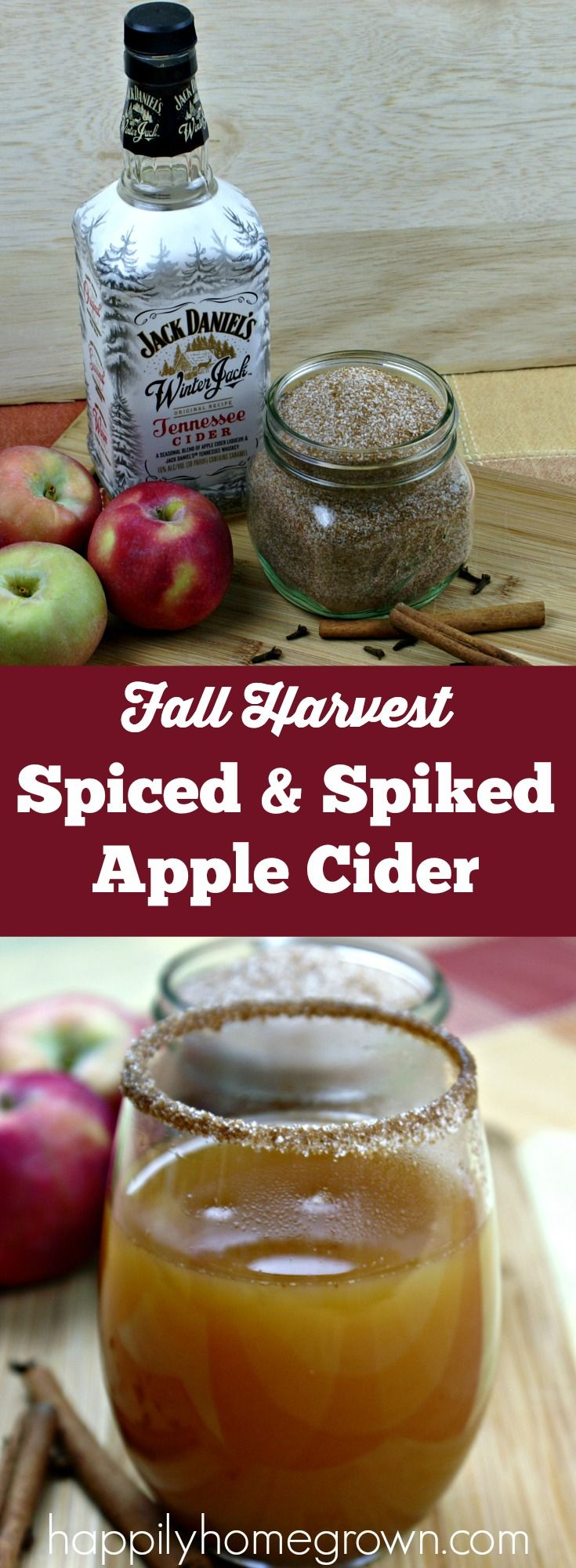 Spiced & spiked apple cider tastes like apple pie, with that little bit of extra heat in the back that you get from whiskey. Its the perfect fall cocktail! via @homegrownhuston