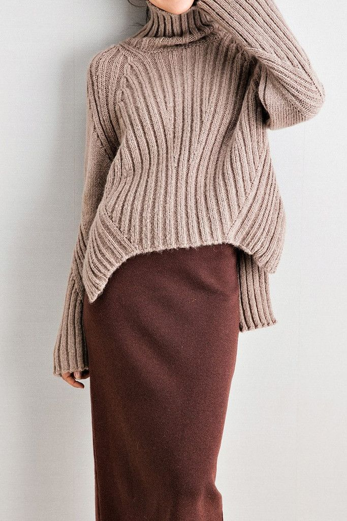 High Low Oversized Turtleneck Sweater