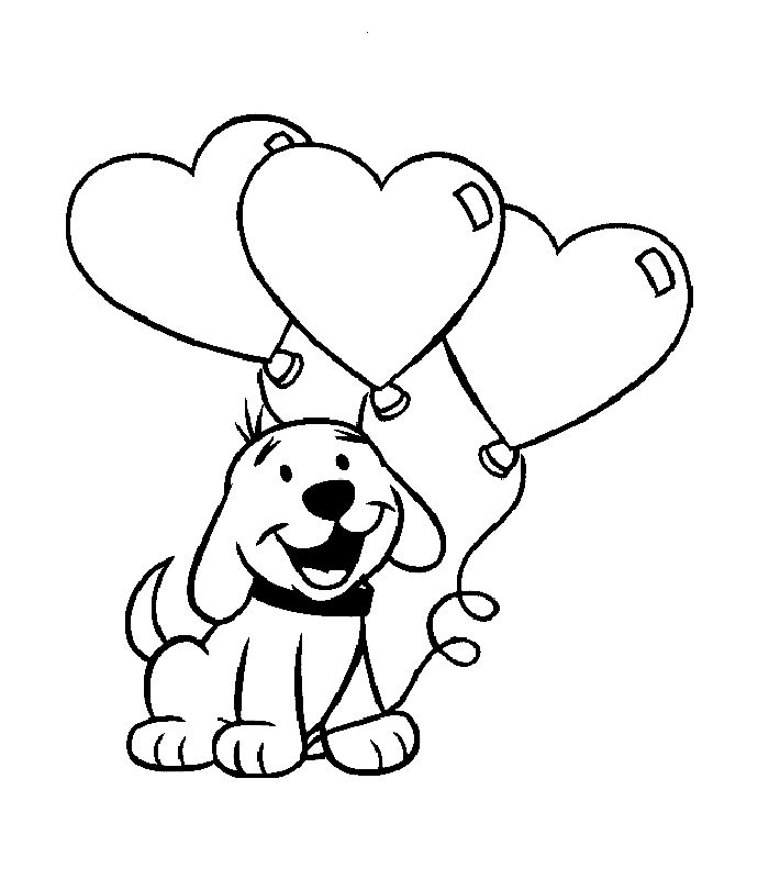 Cute Puppy With Heart Balloons Coloring Pages Sheets Valentines