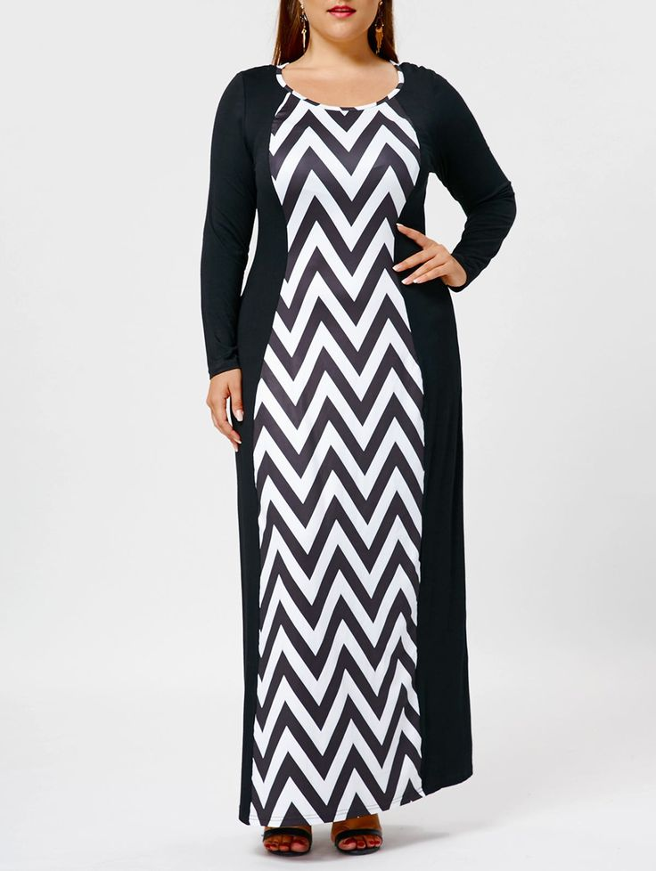 Long Sleeve Plus Size Chevron Maxi Dress in Black White XL | Sammydress.com