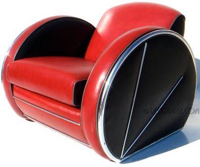 Art d co ensemble fauteuil sofa et repose pieds r plique du design de do - Fauteuil annee 30 art deco ...