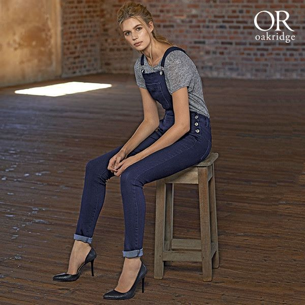 Plain dungaree paired with simple heeLs available at Mr price... Oak ridge
