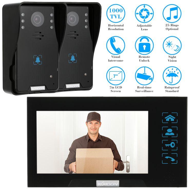 """Kkmoon 7 """"tft a cores vídeo porteiro campainha intercom kit sistema de ir câmera do interfone com 2 monitor de voz interfone"""