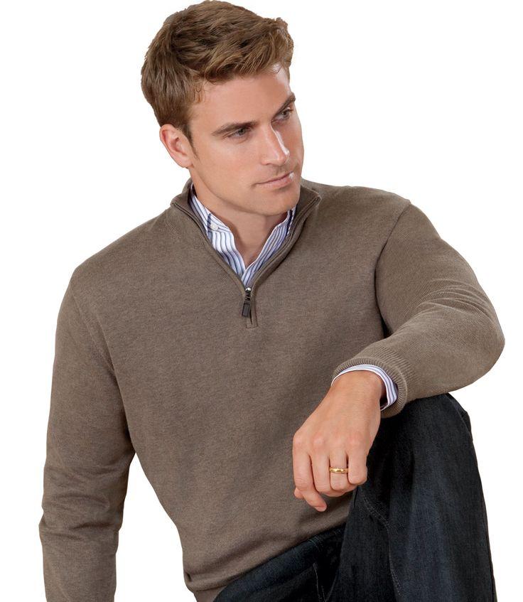 Same idea--would choose better color: Signature Pima Cotton Half-Zip Sweater