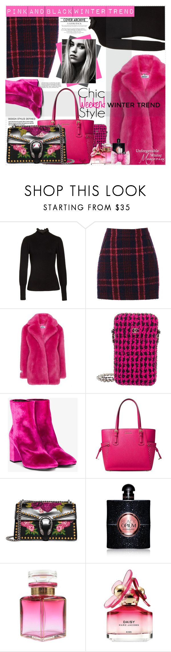 """""""HOT PINK AND BLACK: Winter Trend"""" by polyvore-suzyq ❤ liked on Polyvore featuring Rebecca Taylor, Oasis, Jakke, Chanel, Balenciaga, MICHAEL Michael Kors, Gucci, Yves Saint Laurent, Marc Jacobs and Viktor & Rolf"""