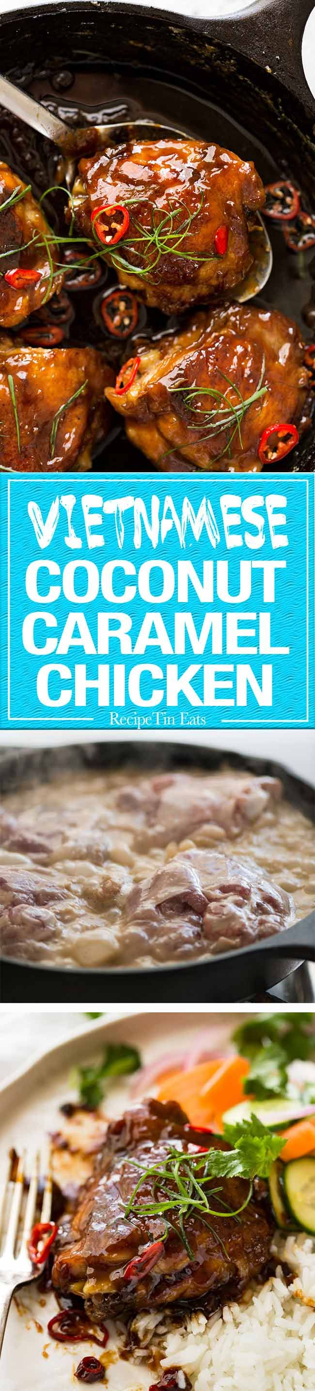 Vietnamese Coconut Caramel Chicken - 7 ingredient magic. The coconut fragrance is heavenly! www.recipetineats.com