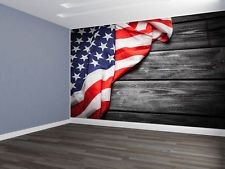 Custom designed wallpaper american flag weathered barn for American flag wall mural