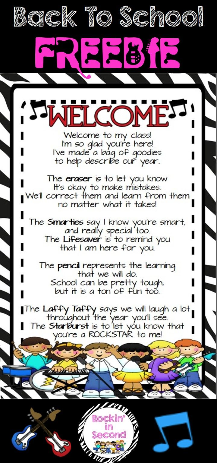 """FREEBIE..This is the """"Welcome"""" to class goodie bag poem that many teachers use for Meet & Greet or Open House/Meet the Teacher Night. I just """"Rocked"""" it up with Rockstar graphics and colors to fit with Rockstar themed classrooms or just for those who like think their kiddos are Rockstars.  Follow me on TPT for more fun, exciting products and FREEBIES. All new products are 50% off for the first 24 hours.  Like me on Facebook at www.facebook.com/rockininsecond for great ideas, products…"""