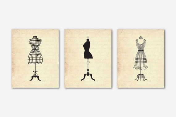 dressform+silhouette | Vintage francese Dress form - manichino silhouette - Set di tre stampe ...