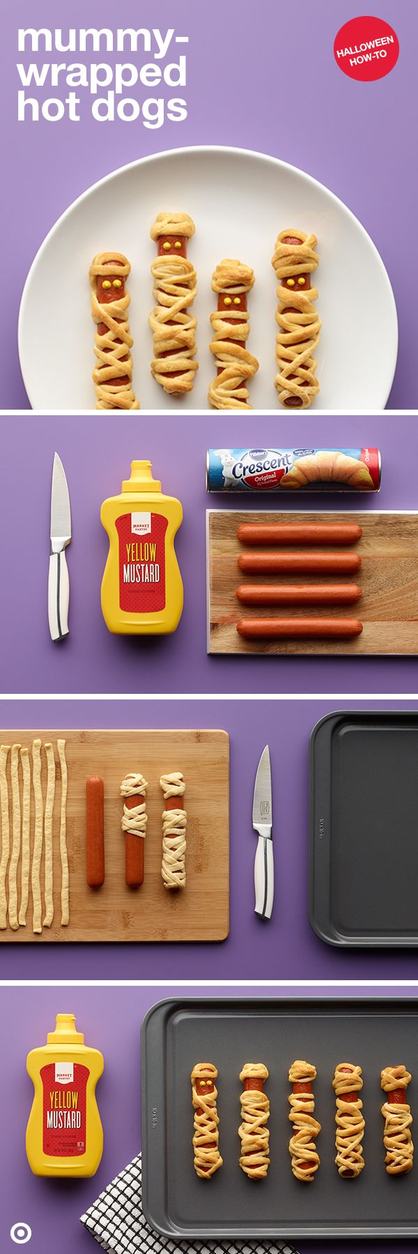 Same dog, new tricks. Preserve your Halloween snack-savvy status with this mummy-wrapped hot dog idea. Things you'll need: the dogs, crescent rolls and mustard. Roll, slice, bake, dot and you're done. It's great as a party app or main course for the kids' big trick-or-treating night.