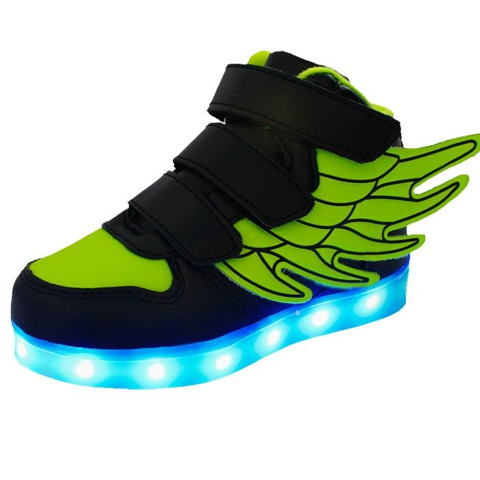 Vert Fluo Chaussure Led Avec Des Ailes Enfant