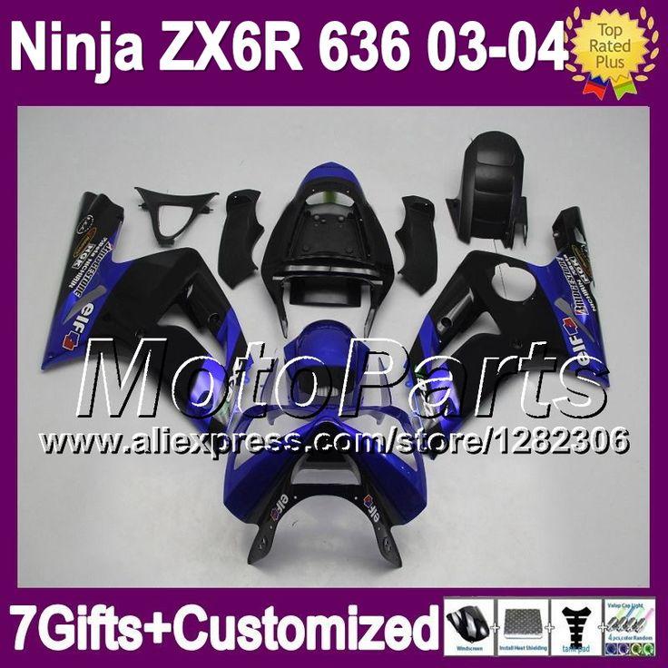 Синий черный 7 подарки для KAWASAKI ниндзя ZX6R ZX636 03 - 04 ZX-6R горячий синий черный * 841 ZX 6 R 03 04 2003 2004 ZX 6R 636 зализа
