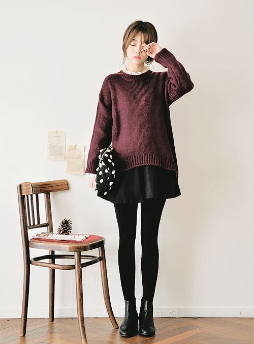 maroon wine pullover sweater + black mini skirt + tights + ankle boots   fall autumn style