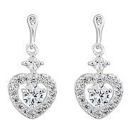 Simply Silver Sterling silver cubic zirconia pave heart drop earring | Debenhams