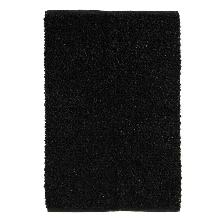 Tappeto nero in tessuto a pelo lungo 140 x 200 cm LUMIERE