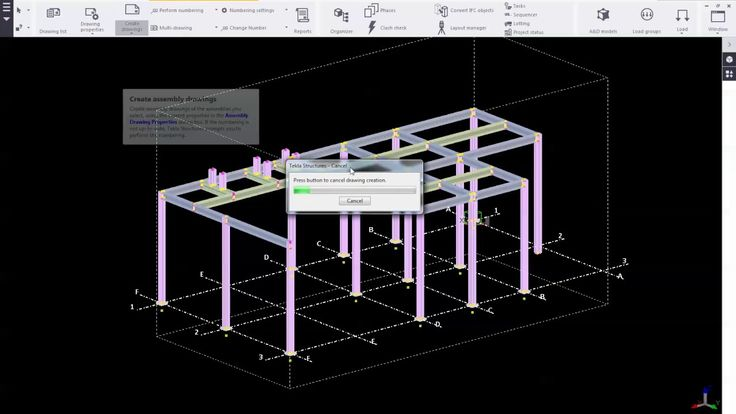 Tekla Structures 2016_Numbering and Create Assembly and Single Part Drawing