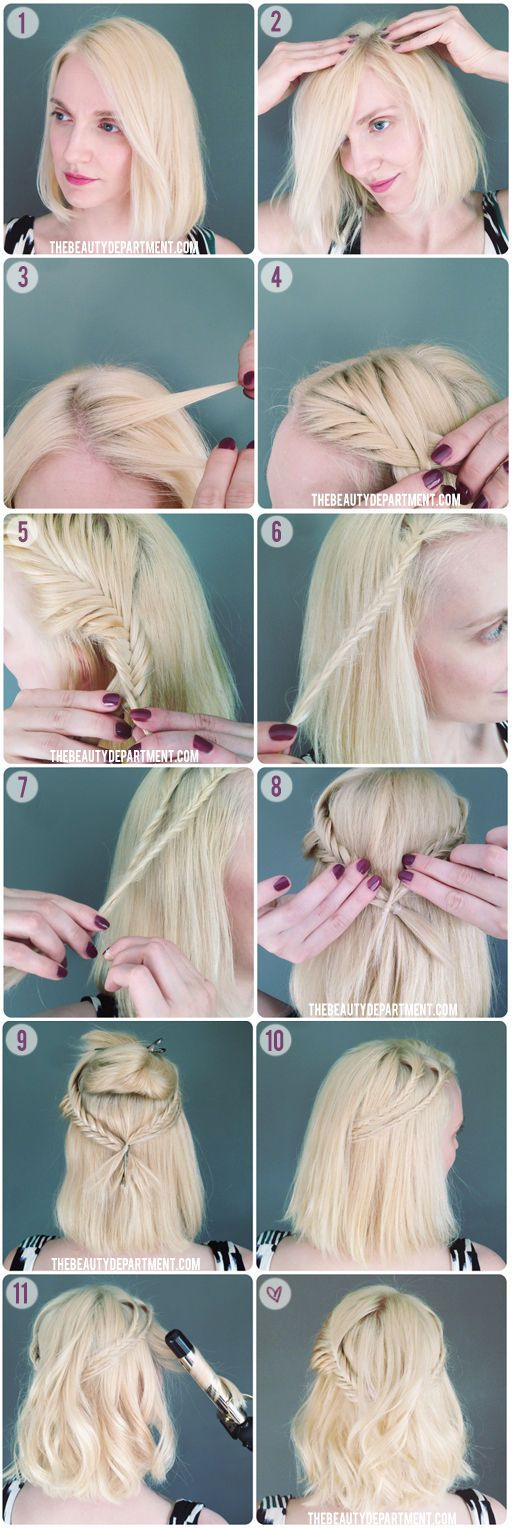 If you're a braider with shorter hair, give this half updo a try.