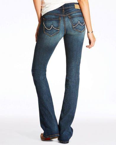 Ariat Women's High Stretch Crosshatch Evening Boot Cut Jeans, Blue