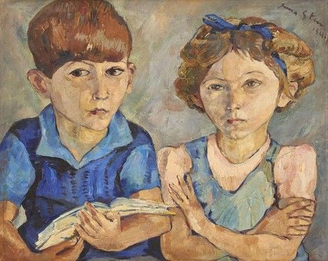 Irma Stern (South African painter) 1894 - 1966 , Portrait of the Bailey Children, 1944 on ArtStack #irma-stern-south-african-painter-1894-1966 #art