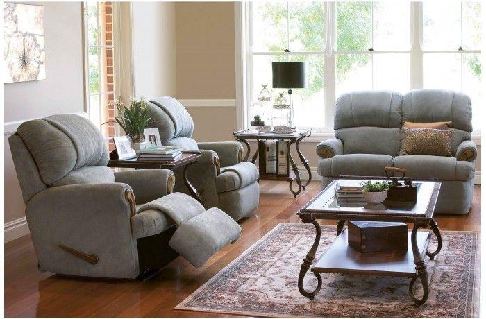 Best Bunbury 3 Piece Fabric Recliner Lounge Suite Lounge 400 x 300