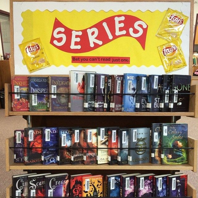 New display in the library! A lot of great book series to read! Come in the library and choose a series to begin! #goodbooks