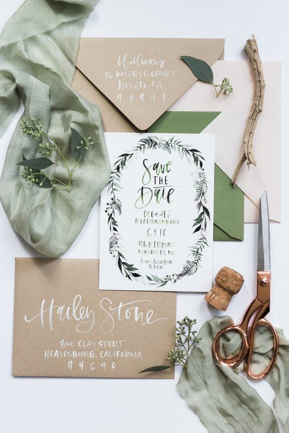 blush + green botanical watercolor wreath custom watercolor calligraphy save the date (Top Design Wedding Invitations)