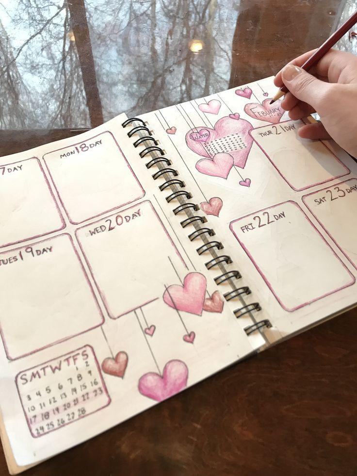 Bullet wöchentliche verbreitung valentinstag Planen Sie die Woche mit dem Valentinstagsthema #bulletjournal #bulletjournalideas
