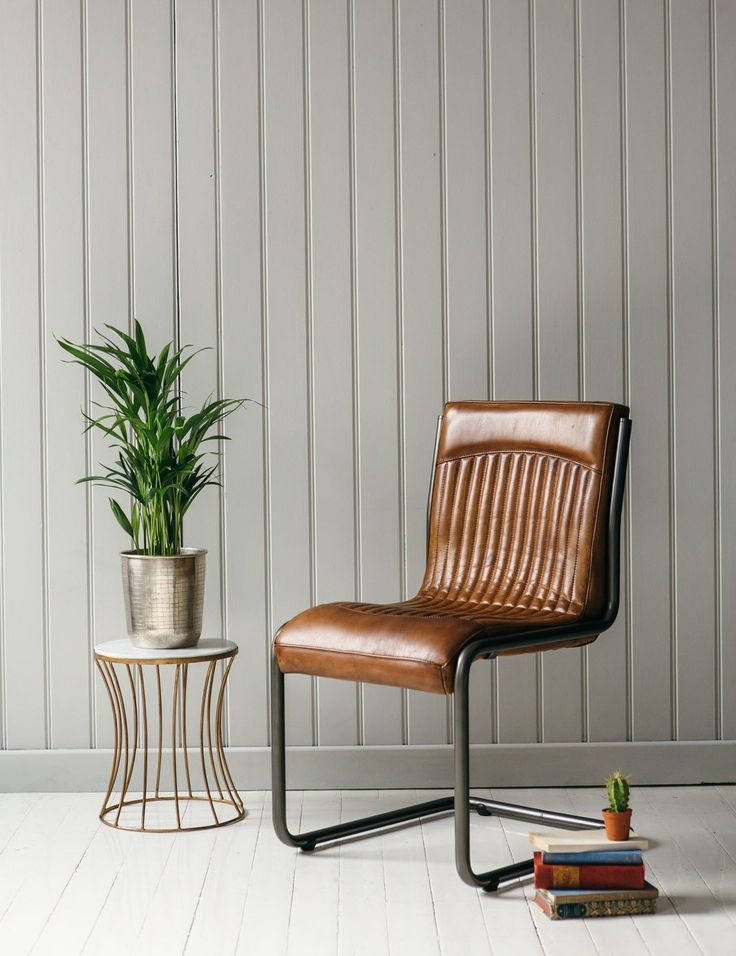 Italian Leather & Steel Office Chair at Rose and Grey