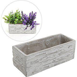Gray Cement Rectangular Succulent Plant Flower Pot