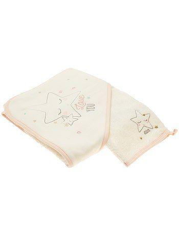 Ensemble cape de bain et gant assorti                              blanc Bébé fille   - Kiabi