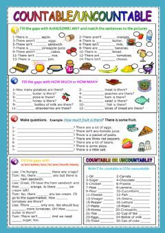 Countable - Uncountable nouns  Language: English  Grade/level: elementary  School subject: English as a Second Language (ESL)  Main content: Countable and uncontable nouns  Other contents: a/an/some/any, there is/there are, how much/how many