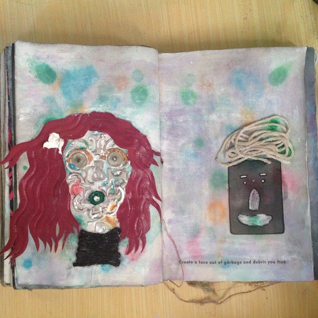 MESS 52: 'create a face out of garbage and debris' people #mess #messy #wtj #wreckthisjournal #wtb #wreckthisbox #artjournal #journal #arttherapy #therapy #ink #colourful #destrozaestediario #destruaestediario #psykotykart #destructive #manual of #accidents and #mistakes #garbage #debris #face #cartoon #collage #funny #weird #creepy