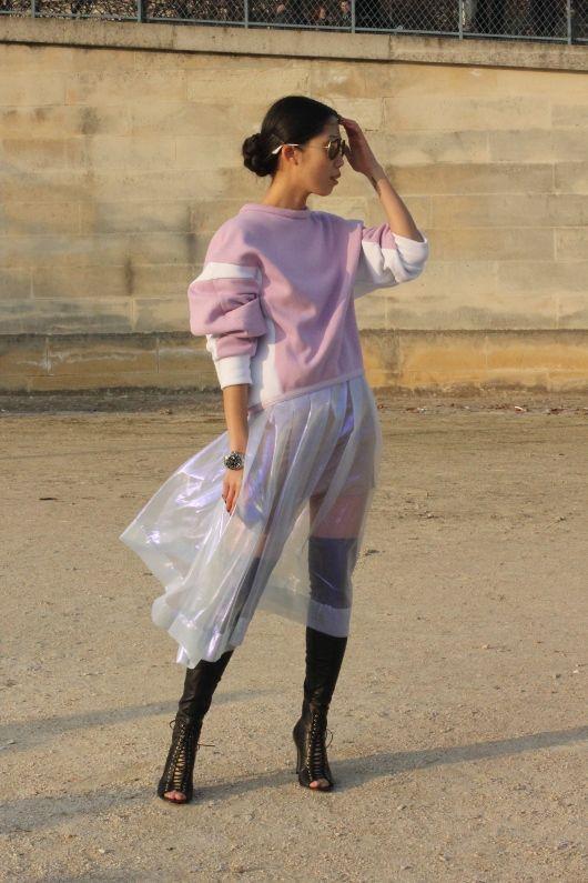 #OksanaOn #transparent #skirt #sweater #glamour #mode #moda #women #paris #look #streetstyle #streetview #street #style #offcatwalk on #sophiemhabille