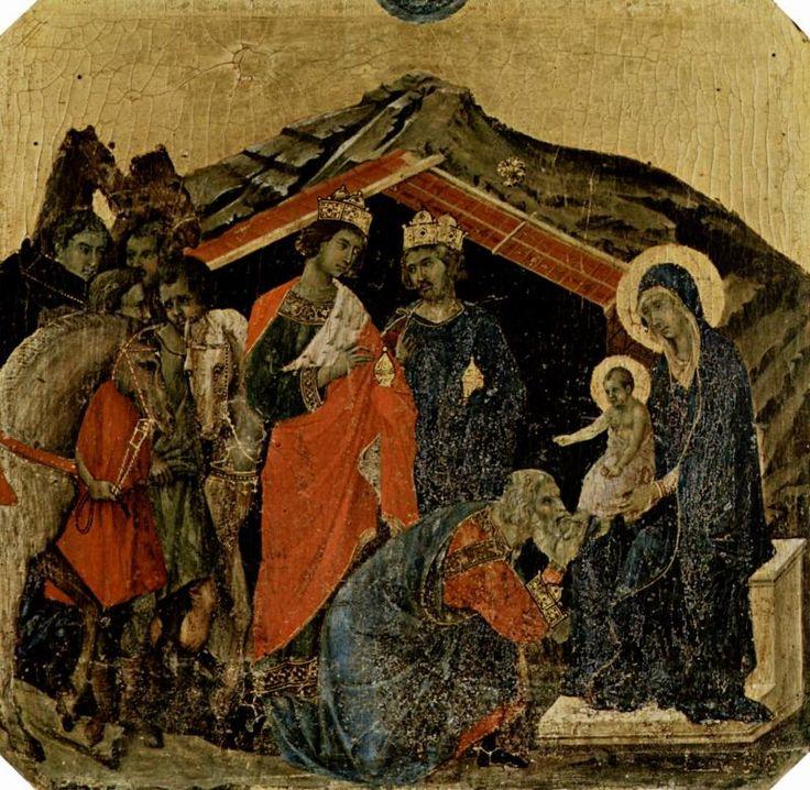 Маэста, алтарь сиенского кафедрального собора, передняя сторона, пределла со сценами из детства Иисуса и пророками Дуччо ди Буонинсенья